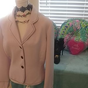 Beautiful light pink w/black accent blazer